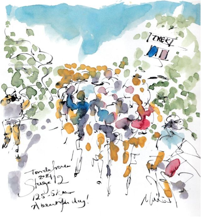 Tour de France 2021 - Stage12, A beautiful day! Original watercolour painting Maxine Dodd