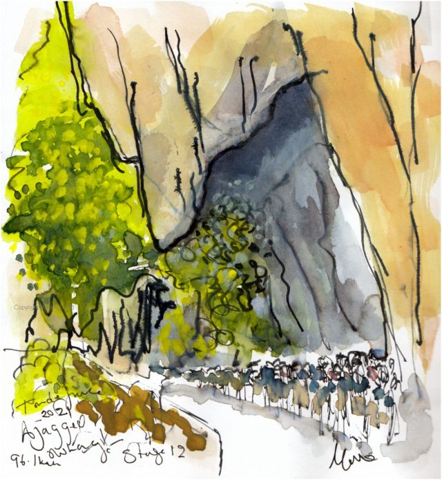 Tour de France 2021 - Stage12, A jagged overhang, original watercolour painting Maxine Dodd