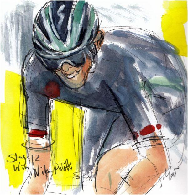 Tour de France 2021 - Stage 12, Win! Nils Politt, original watercolour painting Maxine Dodd