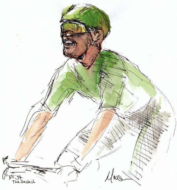 Tour de France 2021 - Stage13, No 34 - Legend! Mark Cavendish, original watercolour painting Maxine Dodd