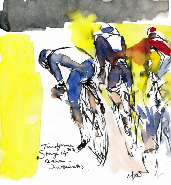 Tour de France 2021 - Stage14, Poursuivants, original watercolour painting Maxine Dodd