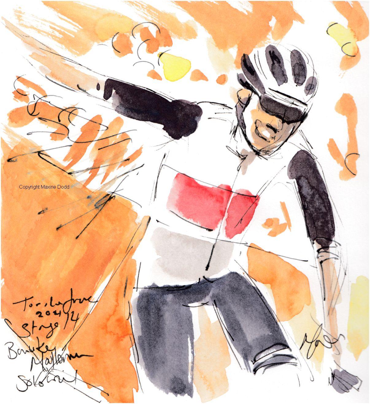 Tour de France 2021 - Stage14, Solo win! Bauke Mollema, original watercolour painting Maxine Dodd
