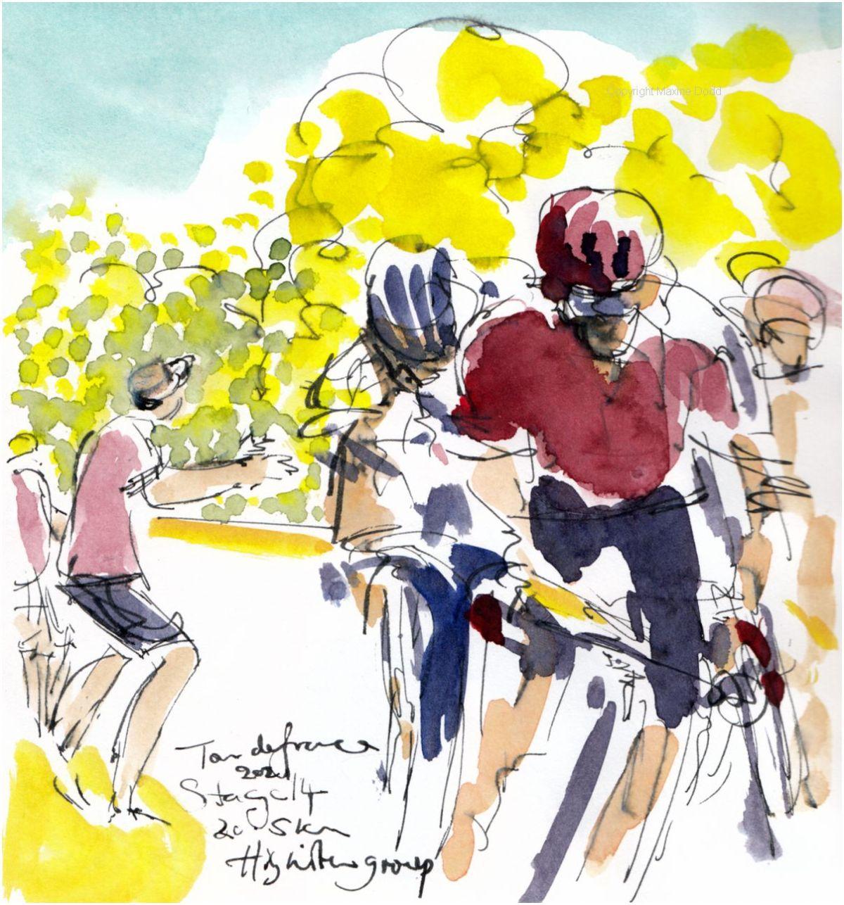 Tour de France 2021 - Stage14, The Higuita Group, original watercolour painting Maxine Dodd