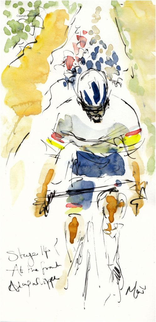 Tour de France 2021 - Stage14, The Musketeer, original watercolour painting Maxine Dodd