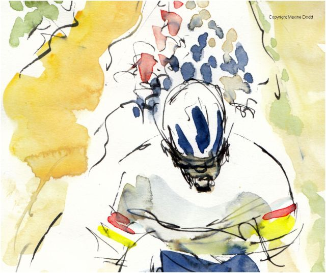 Tour de France 2021 - Stage1, Tour de France 2021 - Stage14, The Musketeer - detail, original watercolour painting Maxine Dodd