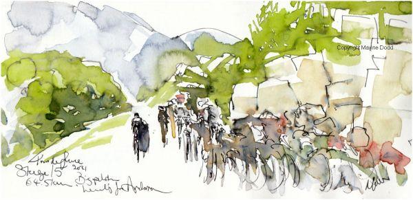 Tour de France 2021 - Stage15 - Big peloton heading for Andorra, original watercolour painting Maxine Dodd