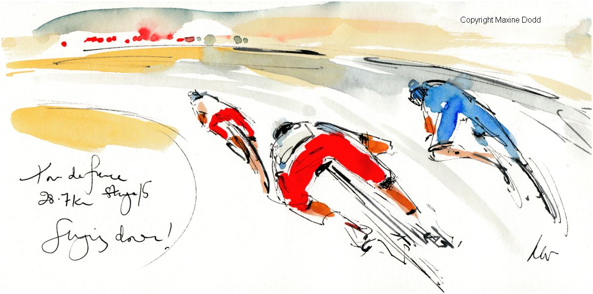 Tour de France 2021 - Stage15 -Flying down! original watercolour painting Maxine Dodd