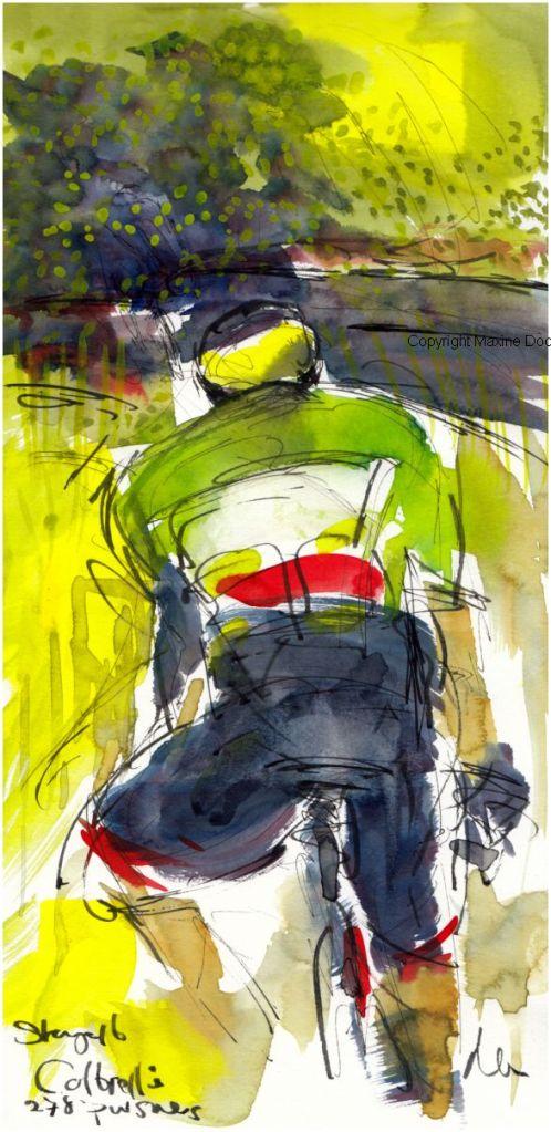 Tour de France 2021 - Stage16 - Cobrelli pursues, original watercolour painting Maxine Dodd,