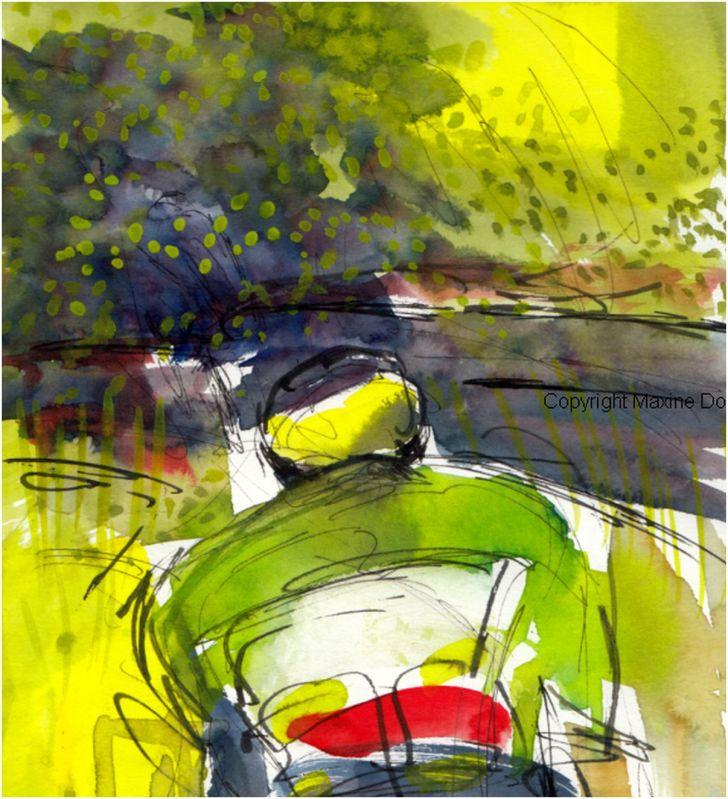 Tour de France 2021 - Stage16 - Cobrelli pursues, Detail,original watercolour painting Maxine Dodd,