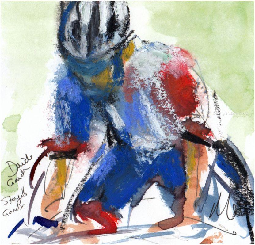 Tour de France 2021 - Stage16 - David Gaudu ,original watercolour painting Maxine Dodd,