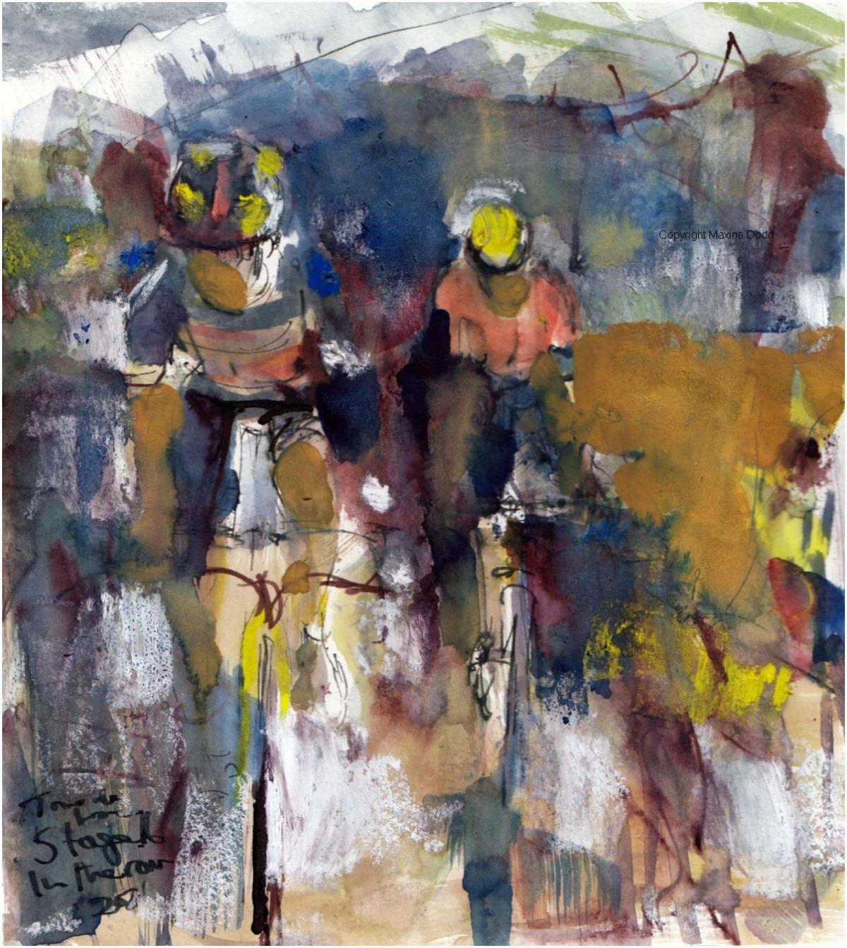 Tour de France 2021 - Stage16 - Pyrenees mist, original watercolour painting Maxine Dodd