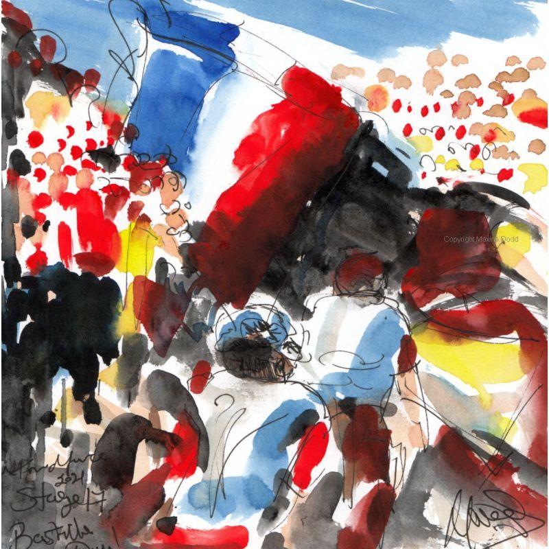 Tour de France 2021 - Stage17 - Bastille Day, original watercolour painting Maxine Dodd