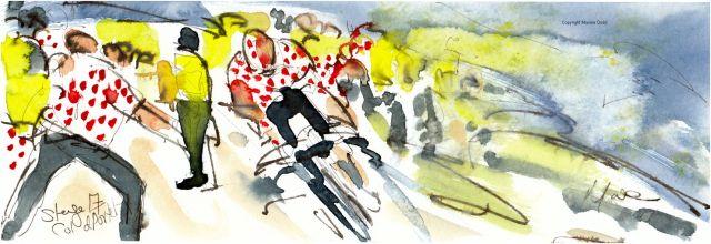 Tour de France 2021 - Stage17 - Col du Portet, original watercolour painting Maxine Dodd