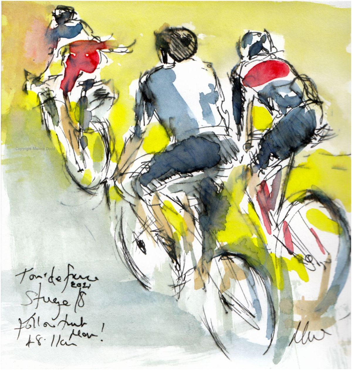 Tour de France 2021 - Stage18 - Follow that man! original watercolour painting Maxine Dodd