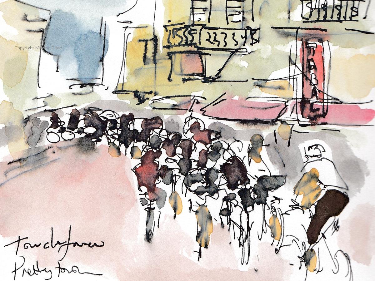 Tour de France 2021 - Stage18 - Pretty town, Original watercolour painting Maxine Dodd