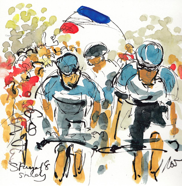 Tour de France 2021 - Stage18 - Little study, Original watercolour painting Maxine Dodd
