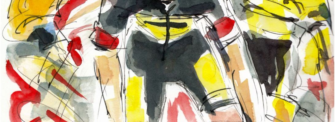 Tour de France 2021 - Stage18 - Wout, original watercolour painting Maxine Dodd