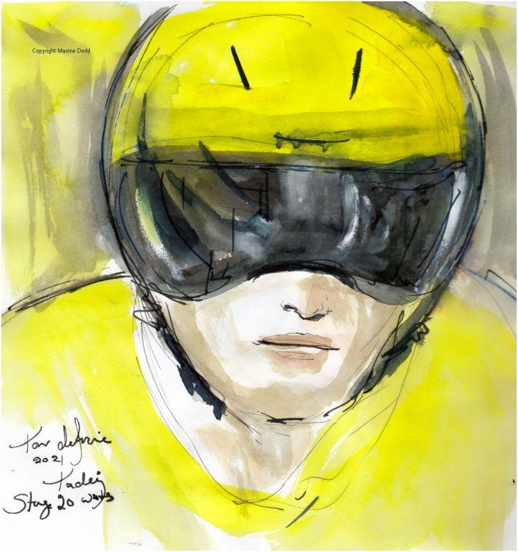 Tour de France 2021 - Stage 20, Tadej waits, original watercolour painting Maxine Dodd