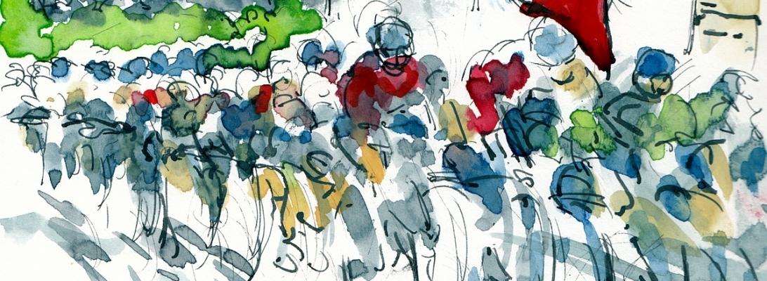 Tour de France 2021 - Stage 21 - The Arc, original watercolour by Maxine Dodd
