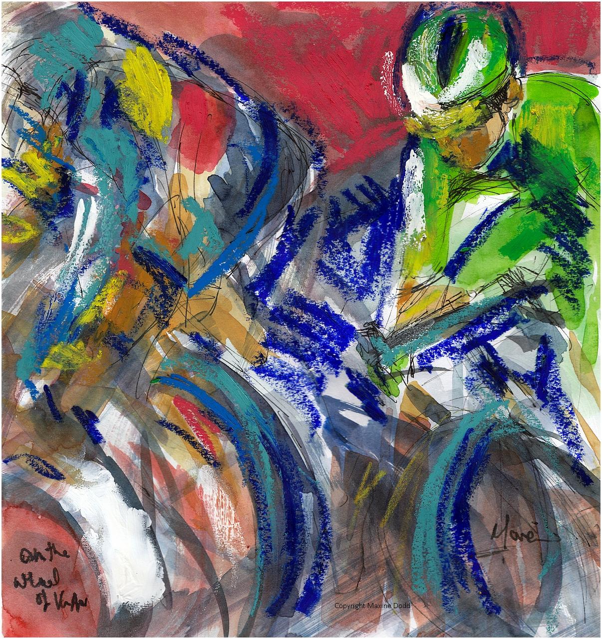 Tour de France 2021 - Stage 21 - On Wout's wheels, original watercolour by Maxine Dodd