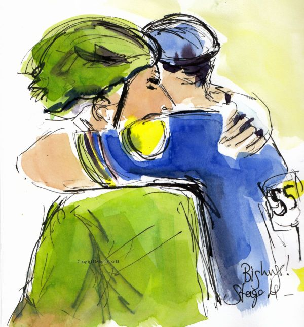 Tour de France 2021 - Stage 4 -Big hugs! original watercolour painting Maxine Dodd