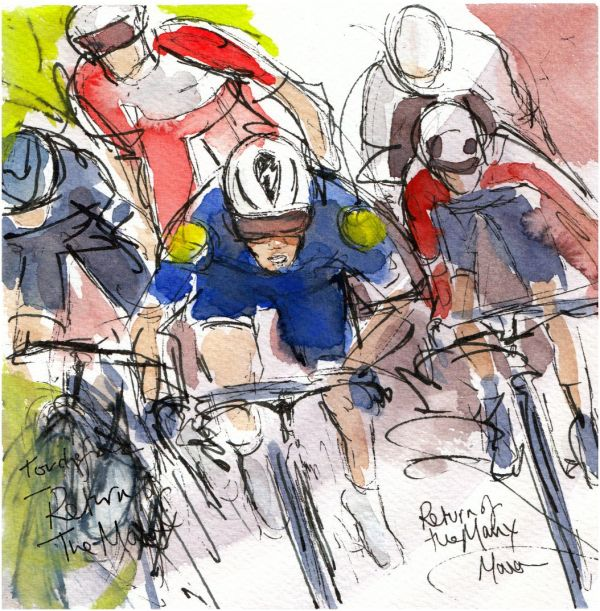 Tour de France 2021 - Stage 4 - Return of the Manx! original watercolour painting Maxine Dodd