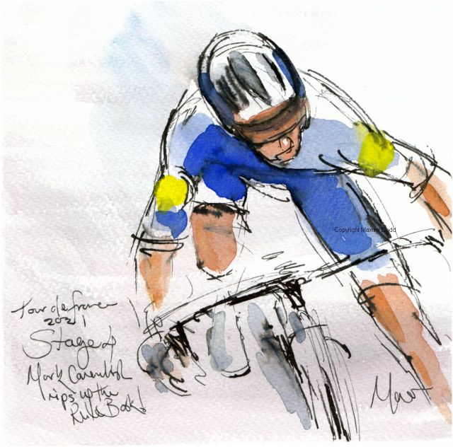 Tour de France 2021 - Stage 4 - Mark Cavendish rips up the Rule Book! original watercolour painting Maxine Dodd