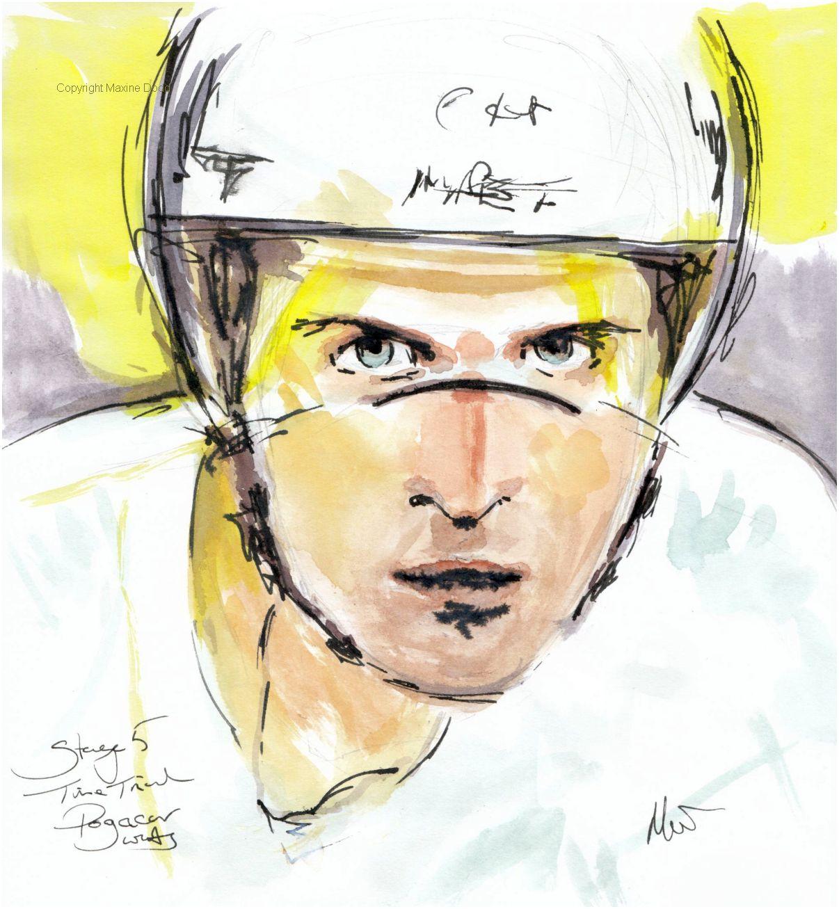 Tour de France 2021 - Stage 5, Pogačar waits, original watercolour painting Maxine Dodd
