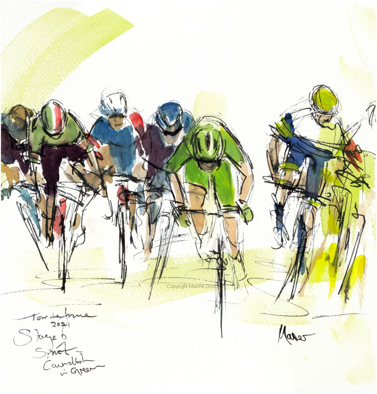 Tour de France 2021 - Stage 6, Cavendish in Green! Original watercolour painting Maxine Dodd