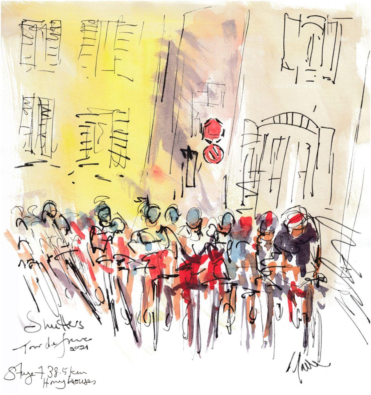 Tour de France 2021 - Stage 7, Honey houses, watercolour by Maxine Dodd