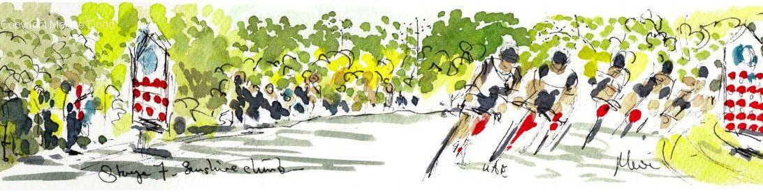 Tour de France 2021 - Stage 7, Sunshine Climb, original watercolour painting Maxine Dodd