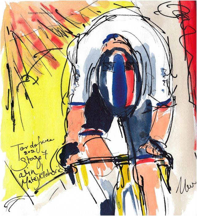 Tour de France 2021 - Stage 7, Win for Mohoric, original watercolour by Maxine Dodd