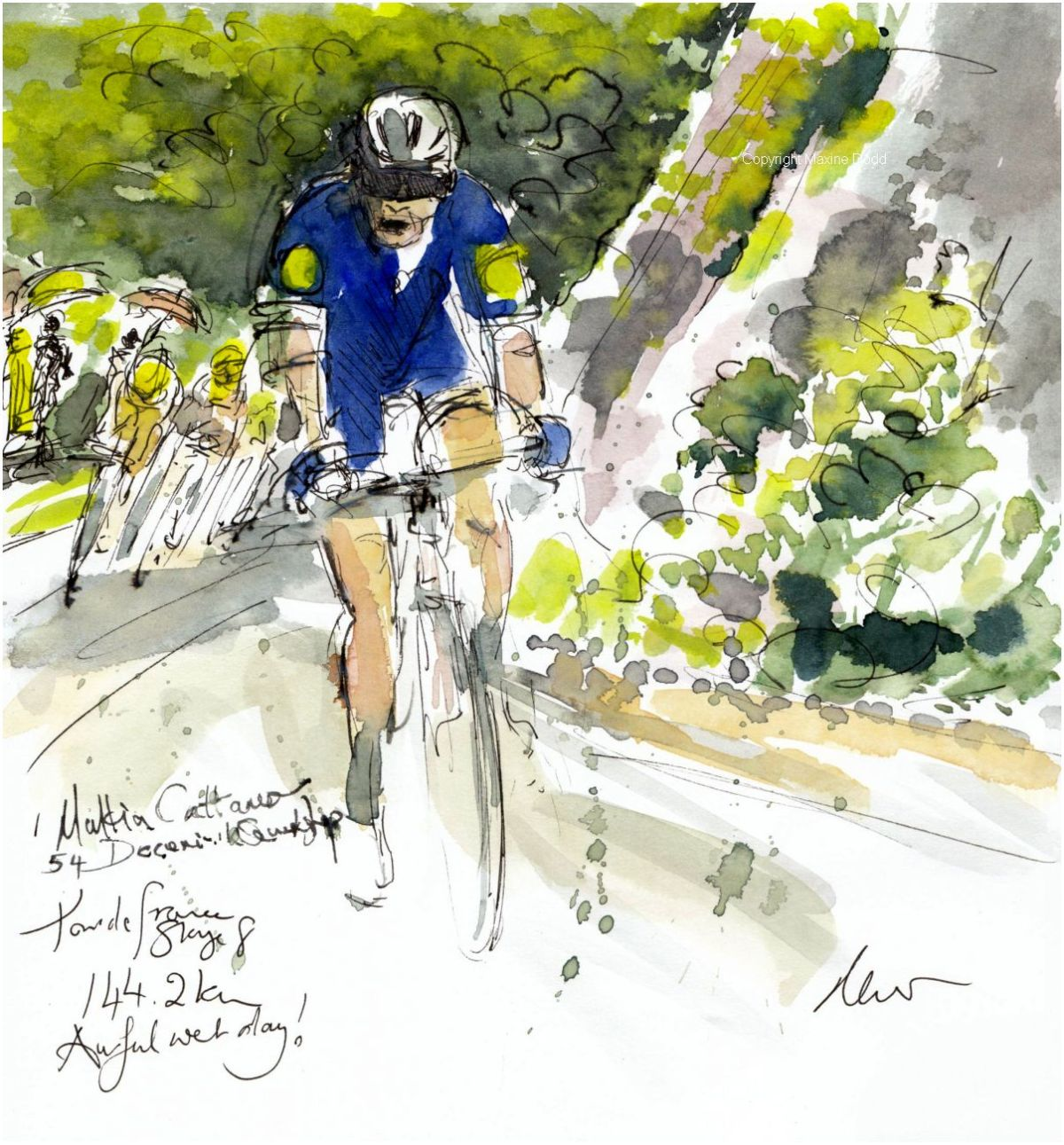 Tour de France 2021 - Stage 8, Awful, wet day! Original watercolour painting Maxine Dodd