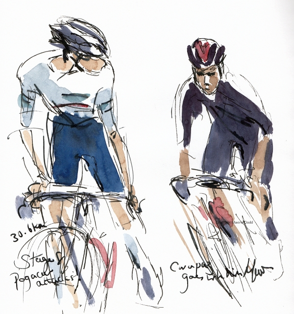 Tour de France 2021 - Stage 8, Pogacar attacks, Carapaz goes with him! Original watercolour, pen and ink