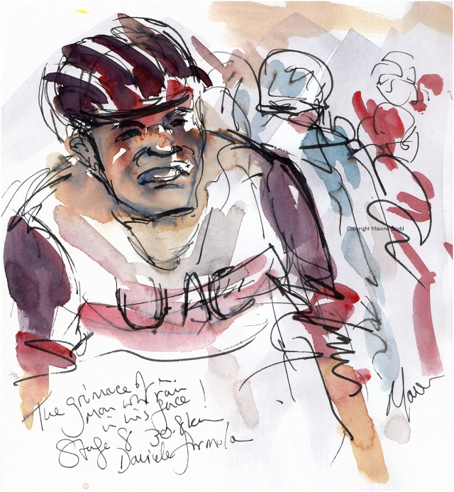 Tour de France - Stage 8, The Grimace of a man with rain in his face, original watercolour by Maxine Dodd