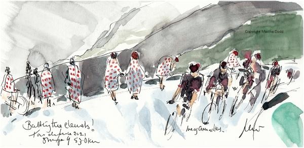 Tour de France 2021 - Stage 9, Battling the elements! Original watercolour painting Maxine Dodd