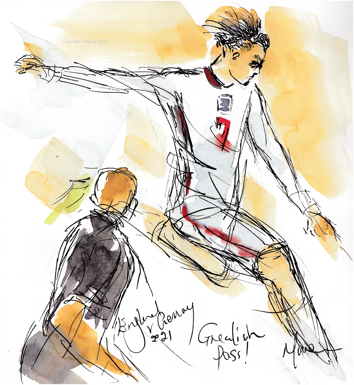 Euros 2021 - England v Germany, Grealish Pass, original watercolour by Maxine Dodd