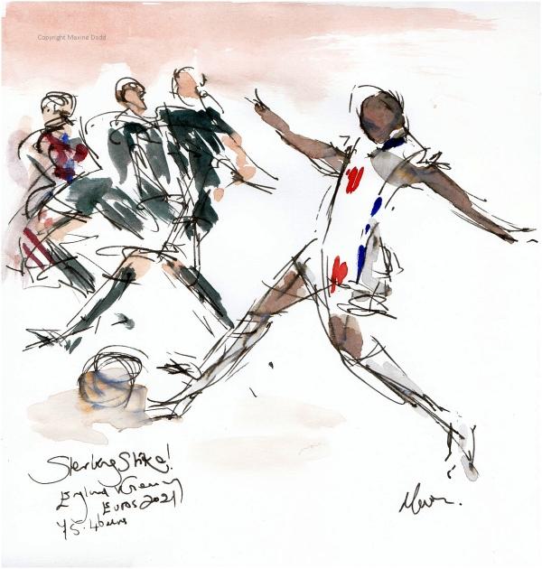 Euros 2021 - England v Germany Sterling Strike!, original watercolour by Maxine Dodd