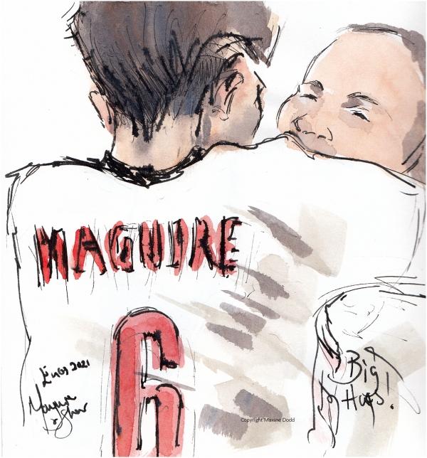 Euros 2021-Ukraine v England, BigHugs! Maguire and Shaw