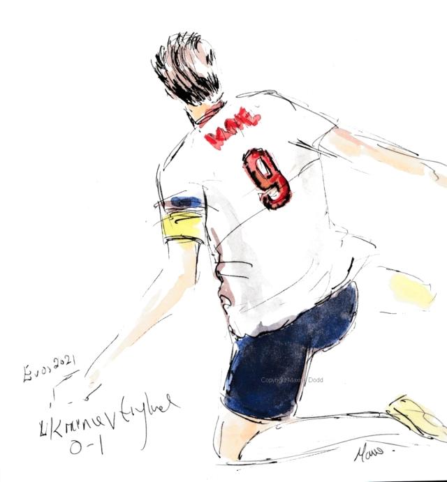 Euros 2021 - Ukraine v England, Kane goal No1!