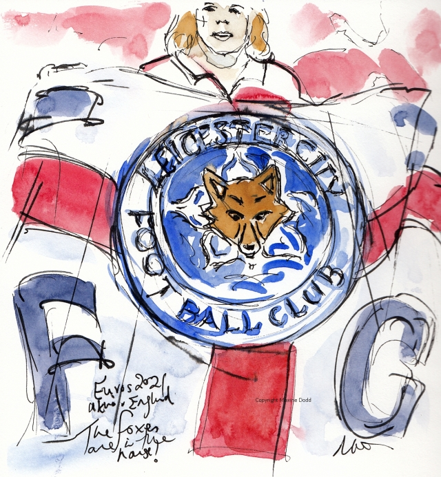 Euros 2021 - Ukraine v England, Foxes in the house! Original watercolour, by Maxine Dodd