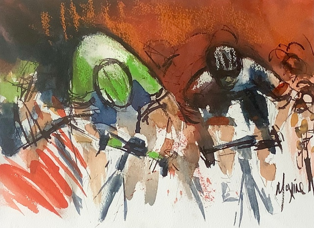 Dive to the line! cycling original art by Maxine Dodd