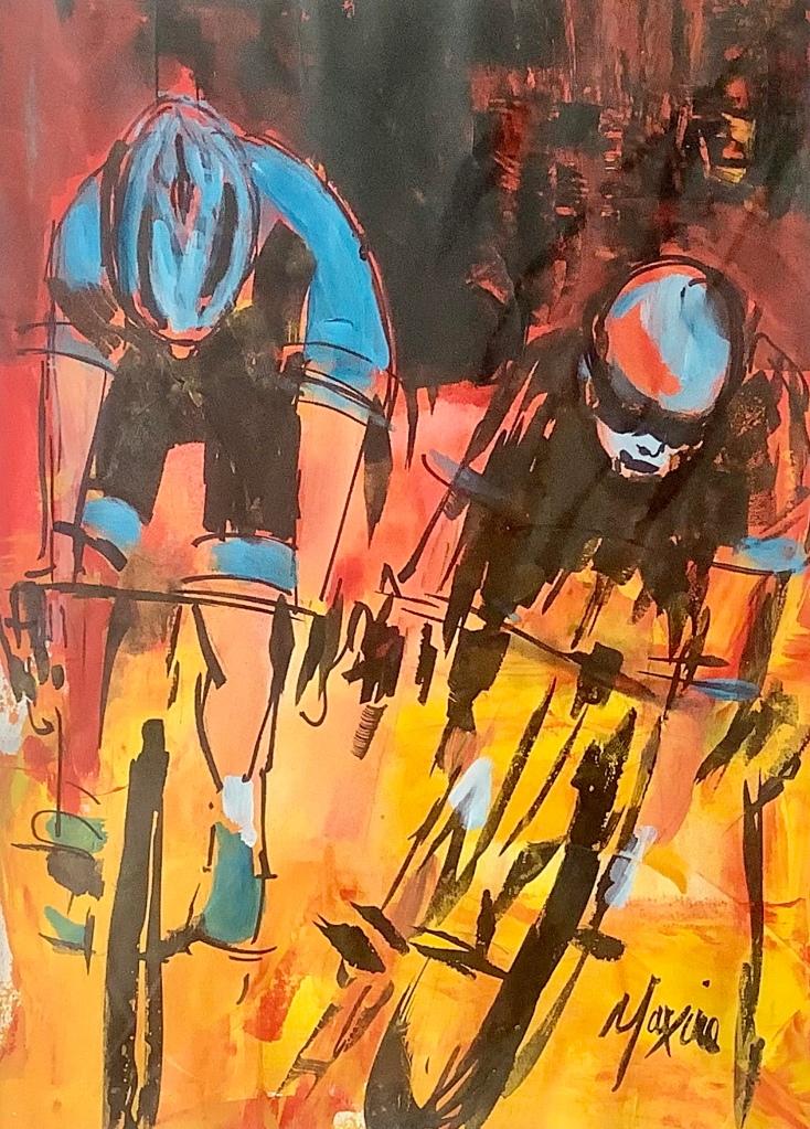 Burst to the line, original art by Maxine Dodd