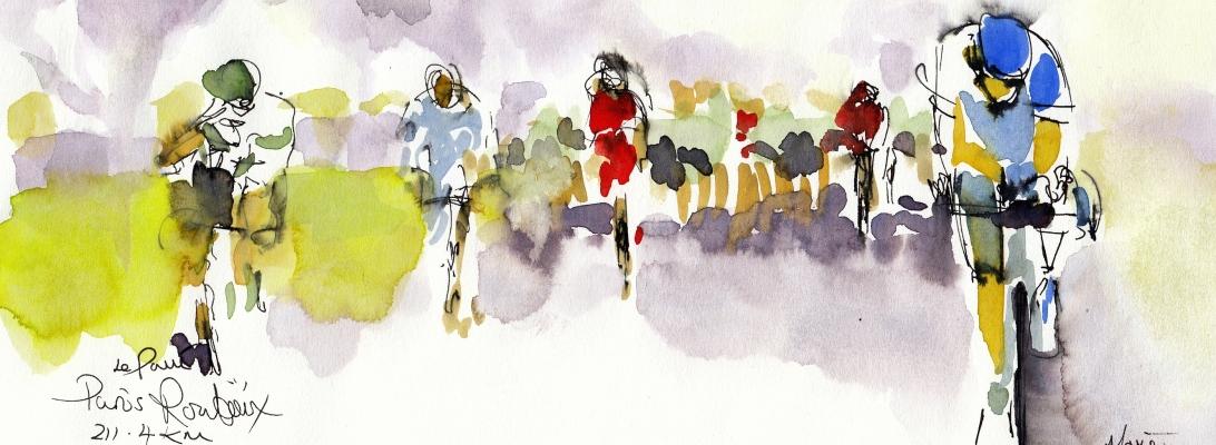 Racing Lines Lookback: Paris Roubaix 211.4km, original watercolour by Maxine Dodd