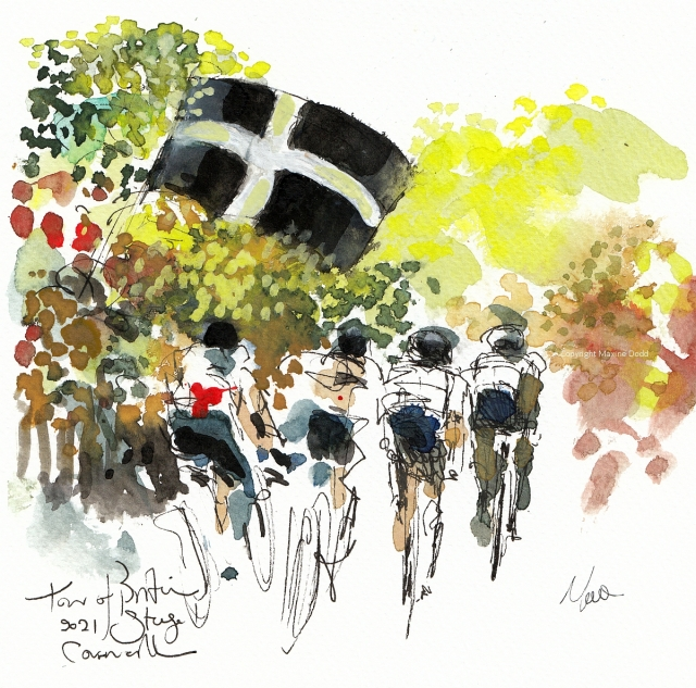 Tour of Britain 2021: Stage 1 - Cornwall, original watercolour painting Maxine Dodd