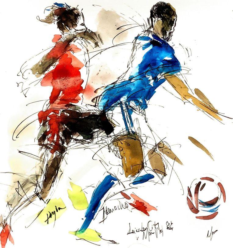 Iheanacho v Pogba - Leicester City v Man Utd, October 2021, original painting by Maxine Dodd